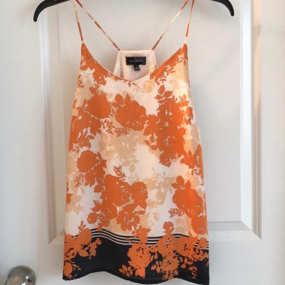 5444fac9d5e5bf the Limited silk tank top shirt navy orange small.  M 5b089a2d46aa7ce2e2bb72cc